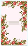 Vector cute, beautiful roses postcard. vector illustration
