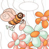 Vector cute bee collects nectar Royalty Free Stock Photos