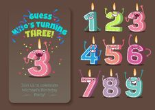 Vector cute birthday candle number characters. Vector cute birthday poster with candle number three 3 character with flame at his head dancing, guess whos vector illustration