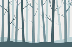 Vector cute blue forest seamless pattern or background.  Stock Image