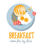 Vector cute  breakfast: eggs, toast bread, tomatoes and dill on a plate.  Vector colorful grunge hipster illustrations. Stock Photography