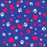 Seamless lovely pattern with small hearts and paw prints dog. Vector cute bright background. Gift wrap, print, cloth, cute background for a card Stock Illustration
