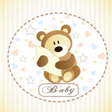 Vector of cute brown bear hiding by blanket. Royalty Free Stock Image