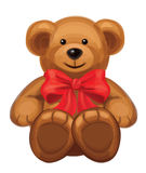 Vector of cute brown bear with red bow. Royalty Free Stock Images