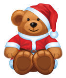 Vector of cute brown bear in red Santas costume is Royalty Free Stock Images