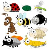 Vector cute bugs and insects isolated. On white background royalty free illustration