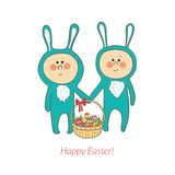 Vector cute bunnies with a basket in hand with Stock Photography