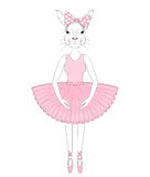 Vector cute bunny girl in dress like ballerina. Hand drawn anthropomorphic rabbit, illustration for t-shirt print, kids greeting