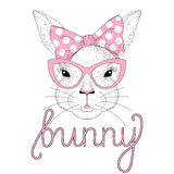 Vector cute bunny girl portrait with pink pin up bow tie on head. Cat eye sunglasses. Fashion hand drawn animal illustration for t-shirt print, kids greeting Royalty Free Stock Photos