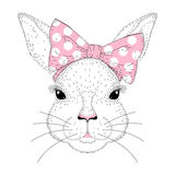 Vector cute bunny portrait. Hand drawn rabbit girl face Stock Image