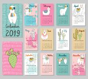 Vector cute Calendar 2019. Hand drawing vector Calendar 2019 with llamas. Week starts from Sunday royalty free illustration