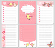 Vector cute cards. Notes, stickers, labels, tags with funny bird and hearts. Design for craft paper, scrapbook, template and greet Stock Images