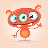 Vector cute caroon monster alien. Halloween monster character with three eyes Royalty Free Stock Images