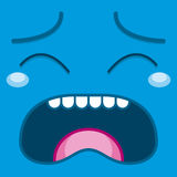 A Vector Cute Cartoon Blue Crying Face Royalty Free Stock Photography