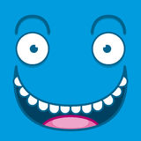 A Vector Cute Cartoon Blue Happy Face Stock Image