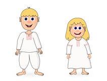 Vector Cute cartoon boy and girl. Royalty Free Stock Photos