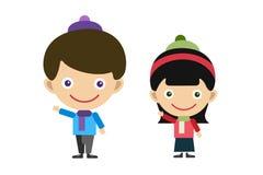 Vector cute cartoon boy and girl Royalty Free Stock Photos
