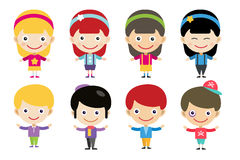 Vector cute cartoon boys and girls together Royalty Free Stock Photo