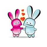 Vector cute cartoon bunny with heart Stock Photos