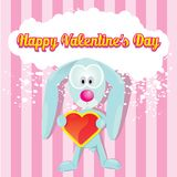 Vector cute cartoon bunny holding heart. Stock Photo