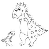 Vector cute Cartoon Dinosaur with Little Baby Dino. Vector black and white cute cartoon dinosaur with little baby. Vector dino. Dinosaurs vector illustration Royalty Free Stock Images
