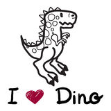 Vector cute cartoon dinosaur with words i love dino Royalty Free Stock Photo