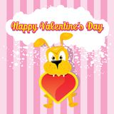 Vector cute cartoon dog holding heart. Stock Image