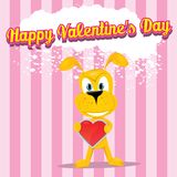 Vector cute cartoon dog holding heart. Stock Images