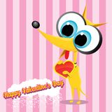 Vector cute cartoon dog holding heart. Stock Photography