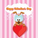 Vector cute cartoon dog holding heart. Royalty Free Stock Images