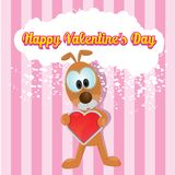 Vector cute cartoon dog holding heart. Royalty Free Stock Photo
