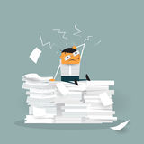 Vector Cute cartoon employee sitting on a lot of paper documents Royalty Free Stock Photo