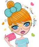 Vector cute cartoon girl Stock Photos