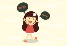 Vector cute cartoon girl smile and happy . Royalty Free Stock Photography