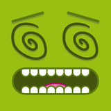 A Vector Cute Cartoon Green Dizzy Face Stock Photos