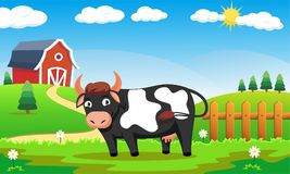 Happy Cows at Farm Sanctuary. Vector cute cartoon illustration of a happy cow with greenery background, file in illustrator vector stock illustration