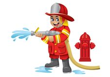 Cute cartoon kid of firefighter. Vector of cute cartoon kid of firefighter Stock Images