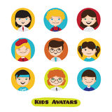 Vector cute cartoon kids avatars set. Children faces collection. Stock Photo