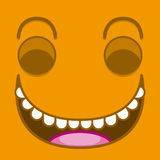 A Vector Cute Cartoon Orange Laughing Face Stock Image