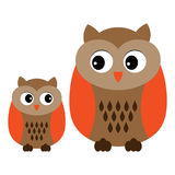 Vector Cute Cartoon Owls. Owls clipart. Baby Owl Vector Illustration. Stock Photography