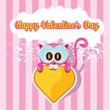 Vector cute cartoon pink cat holding heart. Stock Images