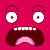 A Vector Cute Cartoon Pink Screaming Face Stock Photography