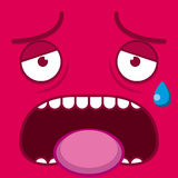 A Vector Cute Cartoon Pink Tired Face Royalty Free Stock Photography