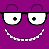 A Vector Cute Cartoon Purple Face With Glasses Royalty Free Stock Photo