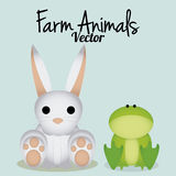 Vector Cute Cartoon Rabbit And Frog Isolated stock photos