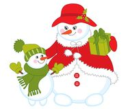 Vector Cute Cartoon Snowmen. Vector snowmen. Vector cute family of snowmen. Vector cartoon snow woman with baby snowman. Vector snowman. Snowmen vector Royalty Free Stock Photos