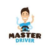 Vector cute cartoon style mascot driver school logo. Guru teen driving symbol Royalty Free Stock Images