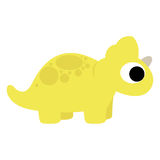 A Vector Cute Cartoon Yellow Dinosaur Isolated Stock Image