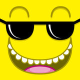 A Vector Cute Cartoon Yellow Face With Sunglasses Royalty Free Stock Image