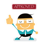 Vector cute cartoon young Businessman showing approved hand gest Stock Image